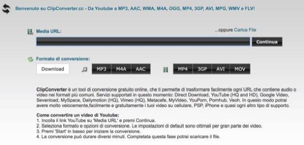 scaricare file audio e video da youtube